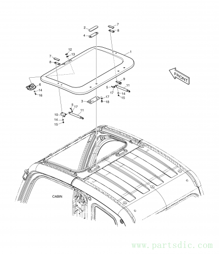 DX225LCA  Sun Roof Cover 621-02870C Assembly