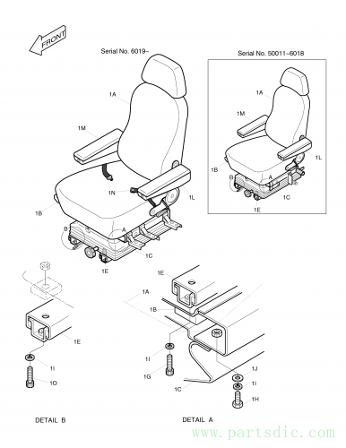 SOLAR 280LC-III  Seat Ass'y 2901-1081A #1