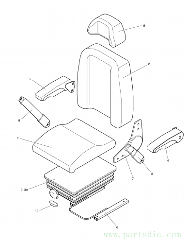 SOLAR 420LC-V  Arm Rest Kit(r.h) 901-00004A #5