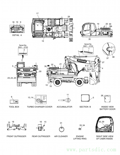 DX210W  Decal(german) K1027457B(K1027457C) #7(110*84*0.8)