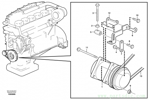 Compressor for cooling agent R134a with fitting parts. 80281