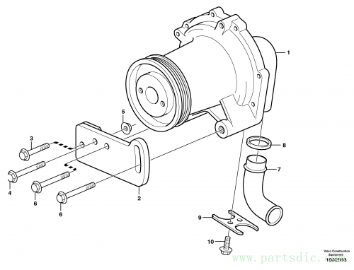 Extra water pump with fitting parts