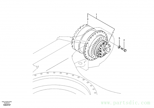 Travel motor with mounting parts
