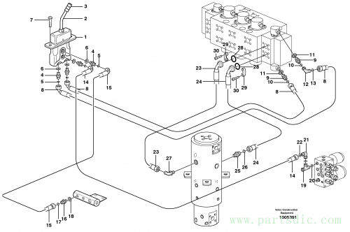 Hydraulic system for stabilisors, upper section 14312069,14312070,14312071,14312076,14312159,14312170