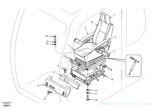 Operator seat with fitting parts