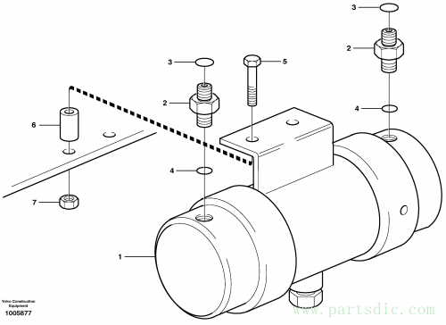 Damping cylinder with fitting parts