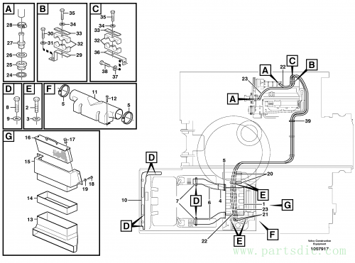 Cab heater with fitting parts