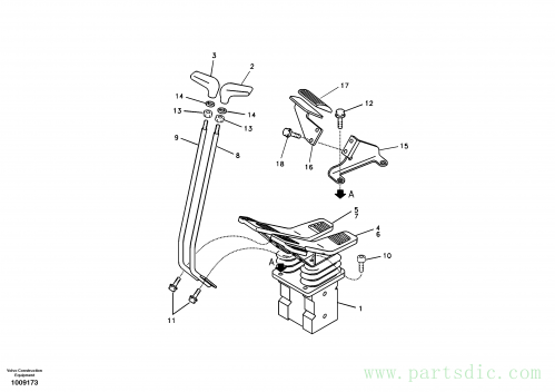 Remote control valve pedal with fitting parts
