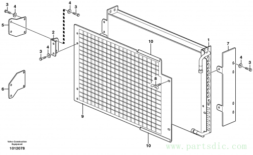 Condenser for cooling agent R134a with fitting parts. 14312035