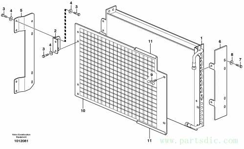 Condenser for cooling agent R134a with fitting parts. 14314019