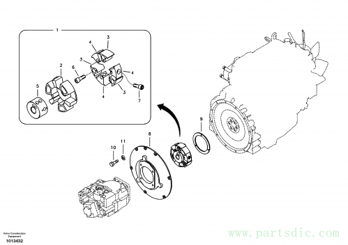 Pump gearbox with assembling parts