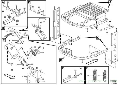Radiator casing, support SER NO 18312 -, SER NO 64580 - USA, SER NO 70874 - BRA