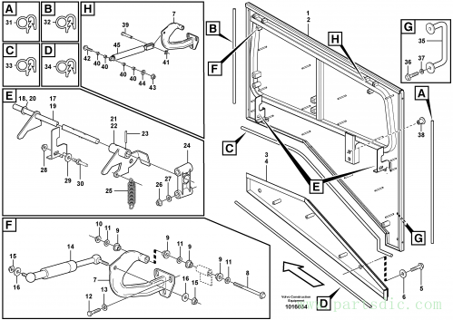 Top plate, side hatches, rear S/N 21158 -, 66713 - USA, 70950 - BRA, 42288 - IRN