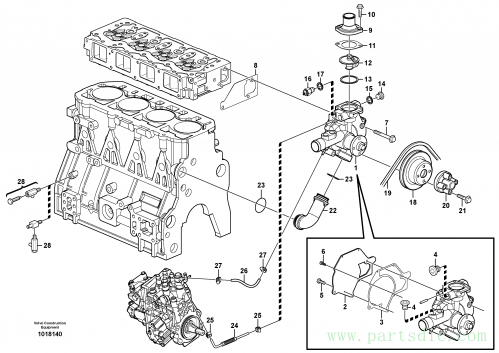 Water pump and thermostat housing 11850033, 11850709