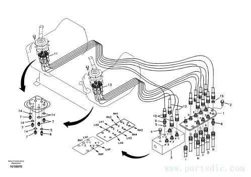 Servo system, control valve to remote control valve 8278796,8279576,8279577