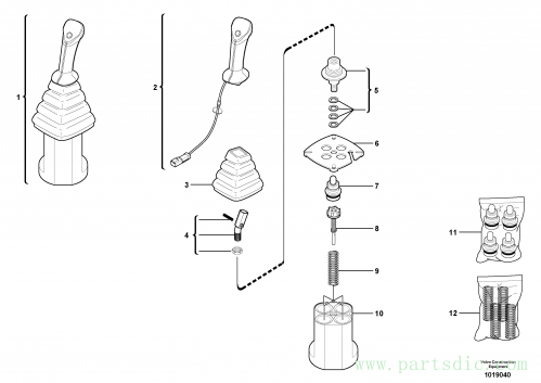Control lever : dipper arm / slewing ( left )