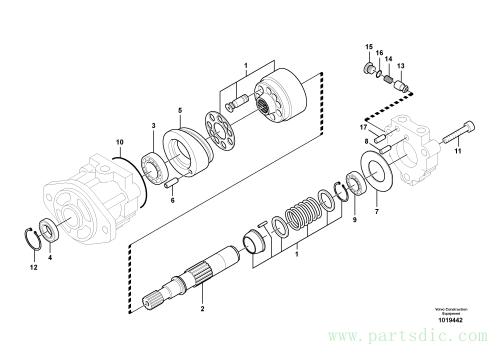 Hydraulic system, oil cooling fan motor 8279674,8279677