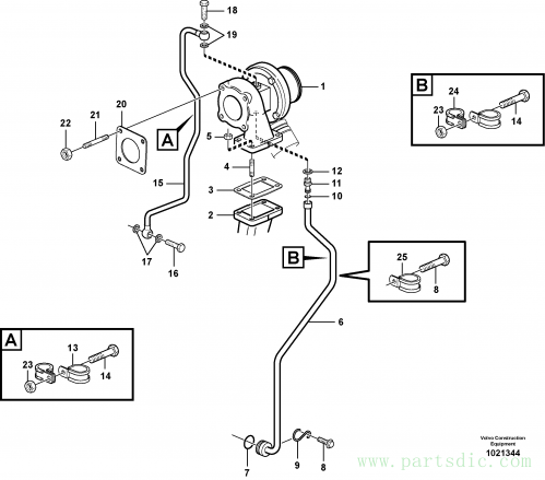 Turbocharger with fitting parts