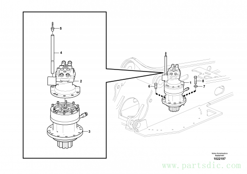 Swing motor with mounting parts