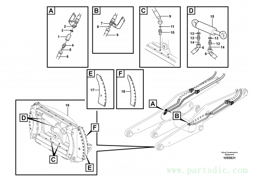 Hydraulic system rotary pin-on attachment bracket