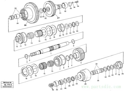 Hydraulic clutch rear/4:th speeds