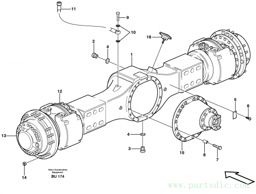 Planetary axle, motor unit 23909