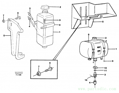 Expansion tank with fitting parts