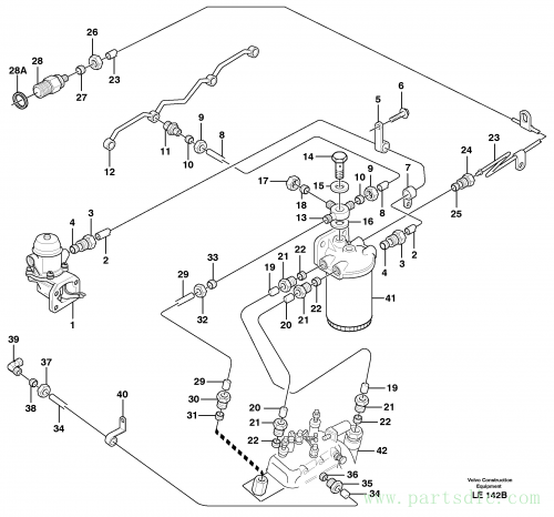 Fuel pipes, injection pump - fuel filter.