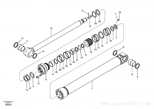 Dipper arm cylinder