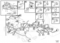 Rear cable harness with assembly parts