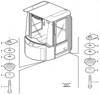 Driver's cab, mounting block STD, OPEN ROPS