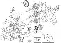Timing gear casing and gears