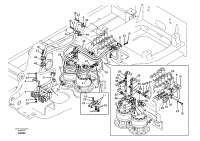 Hydraulic system, control valve to boom and swing